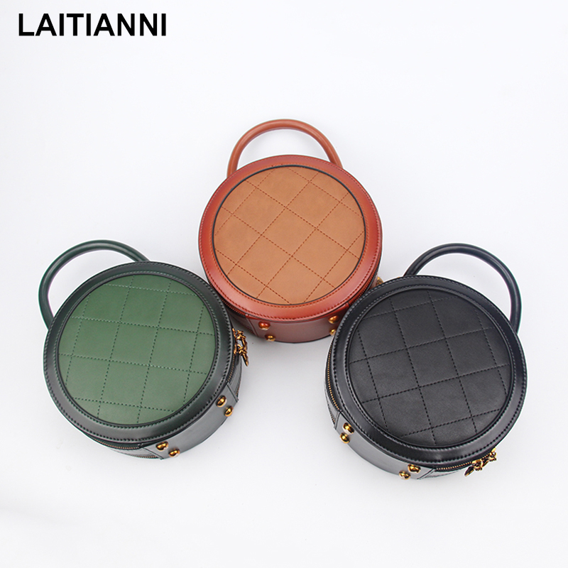 Round Bags Female Fashion Small Messenger Bags Lady Handmade Natural Leather Baobao New Design Famous Brand 2018 Women Handbags