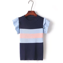 2018 New Summer t shirt Runway Design T-shirts for Women Butterfly Sleeve Lolita Sweet Striped Patchwork Casual female T-shirt