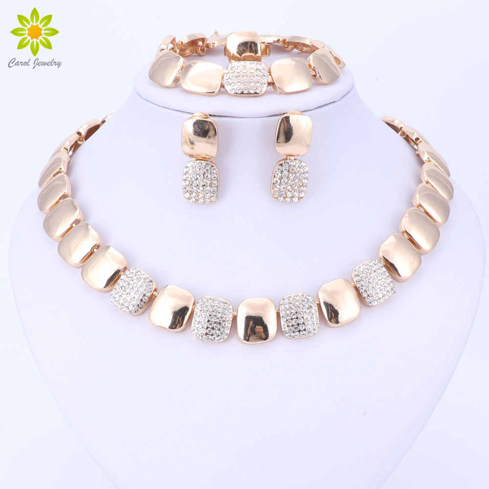 Dubai Gold Color Jewelry Sets Nigerian Wedding African Beads Crystal Bridal Jewellery Set Women Wedding Party
