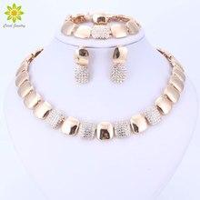 Dubai Gold Color Jewelry Sets Nigerian Wedding African Beads Crystal Bridal Jewellery