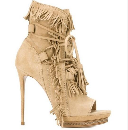 Summer Fashion Shoes Suede Tassel Stiletto High Heels Shoes Peep toe Lady Ankle Boots Fringed Lace Up Platform Sandal Boots купить