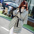 2016 nueva moda mujer grueso otoño invierno botón del collar del soporte de media manga de tela escocesa larga outwear chaqueta de la capa de las señoras