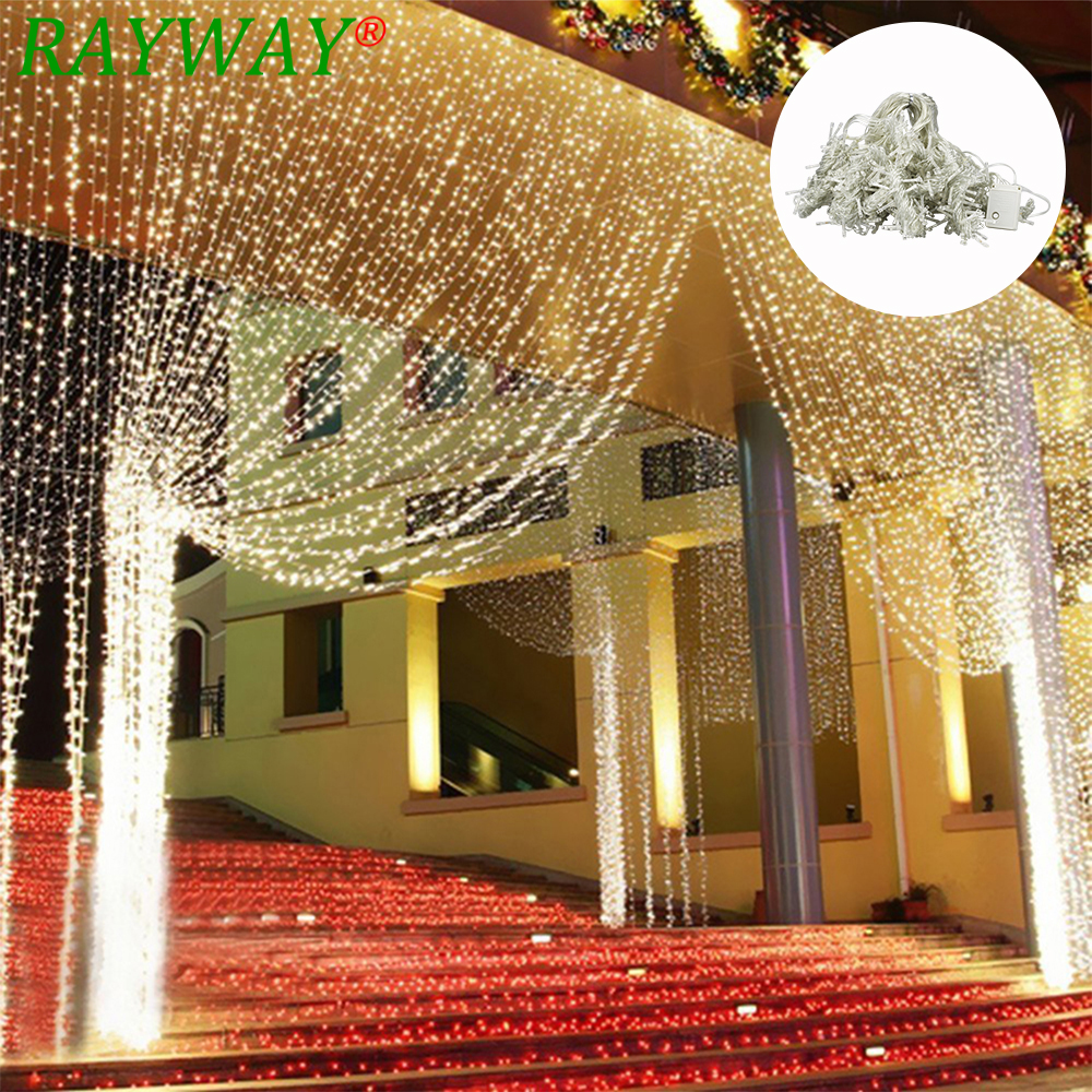 6M x 3M 600 LED Home Outdoor Holiday Christmas Decorative Wedding Xmas String Fairy Lights Garlands Strip Party Curtain Lights 3m x 3m 300led outdoor home christmas decorative xmas string fairy curtain strip garlands party lights for wedding decorations