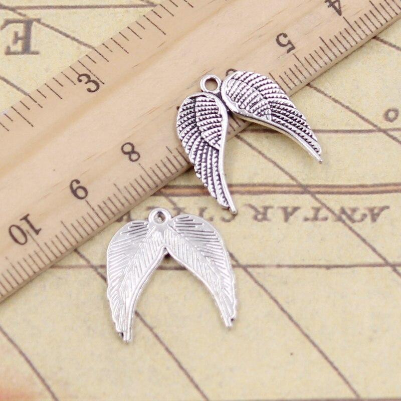 10 Stücke Charme Engel Flügel 21x19mm Tibetischen Silber Überzogene Anhänger Antiken Schmuck, Die Diy Handgemachten Handwerk Jade Weiß