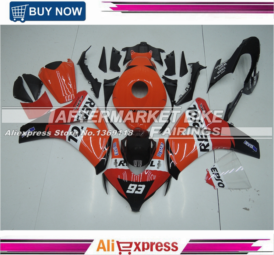 For Honda Motorcycle ABS Fairing Kit CBR1000RR 2008 Orange Repsol 2009 2010 2011 Complete Plastic Bodywork With No.93 for honda cbr600rr 2007 2008 2009 2010 2011 2012 motorbike seat cover cbr 600 rr motorcycle red fairing rear sear cowl cover