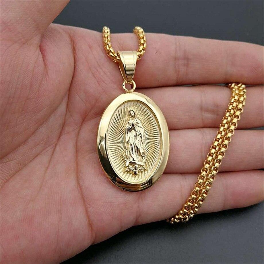 Хип-хоп ледяной большой Девы Марии золотые ожерелья и подвески цвет из нержавеющей стали цепочка для женщин христианская бижутерия Мадонна...