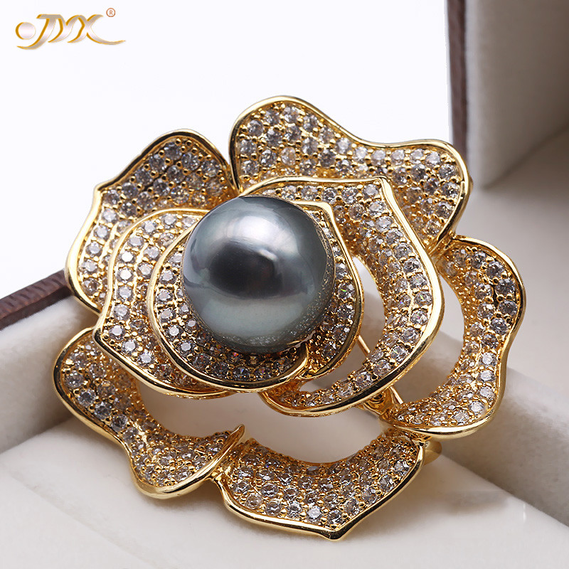 JYX Elegant Brooches flower big 12.5mm natural Grey-blackTahitian Pearl Pendant women Christmas gift fine zirconJYX Elegant Brooches flower big 12.5mm natural Grey-blackTahitian Pearl Pendant women Christmas gift fine zircon