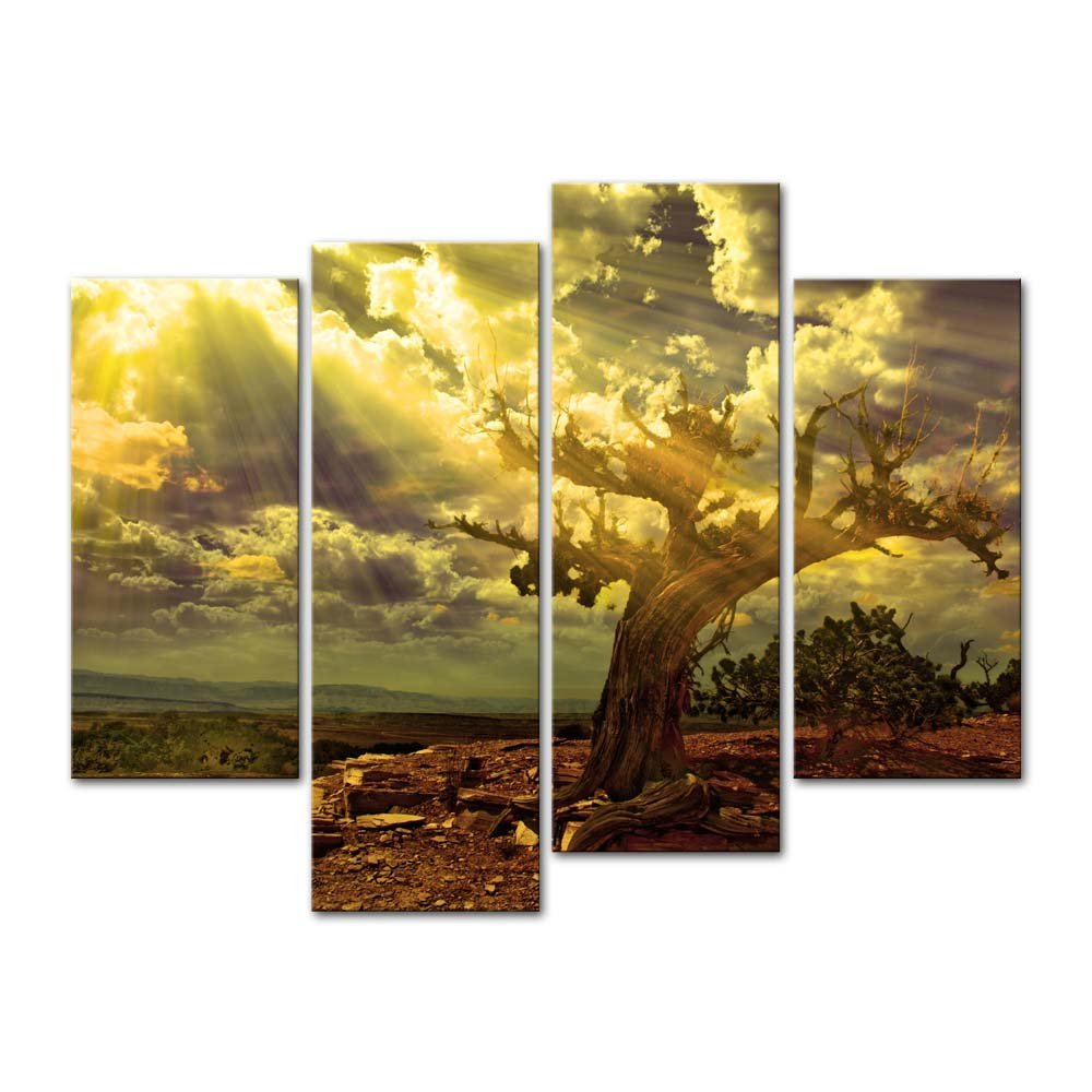 BANMU 4 Pieces Canvas Painting Wall Art The Picture Light Scene Tree ...