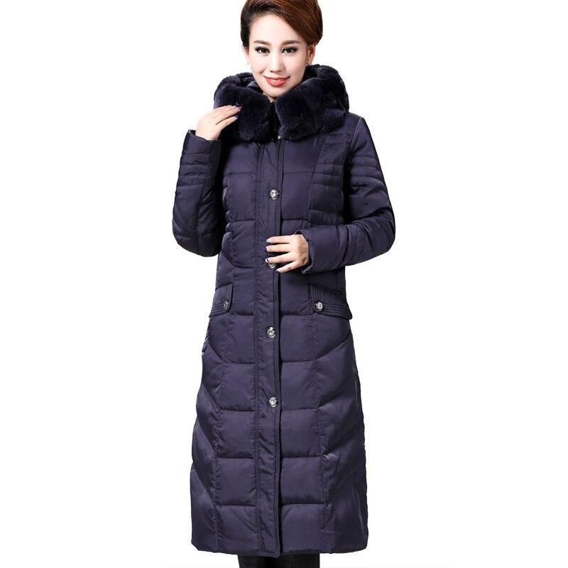 819a34bd9 US $162.8 |Down Parka 2019 Women Long Coat Parkas Winter Jacket Women Plus  Size Down Puffer Coat Women Rabbit Fur Hooded Brand Parka D6889-in Parkas  ...