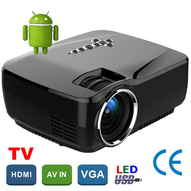 СВЕТОДИОДНЫЙ Проектор Android 4.4 miracast 3D hd Мини proyector hdmi 1600 люмен домашнего кинотеатра мультимедийный Proyector projetor По Salange