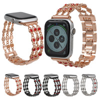 Denim Chain Watch Band for Apple Watch Bands 38/42/40/44mm Stainless Steel Diamond Bracelet For iwatch Series 4 3 2 1 Connectors
