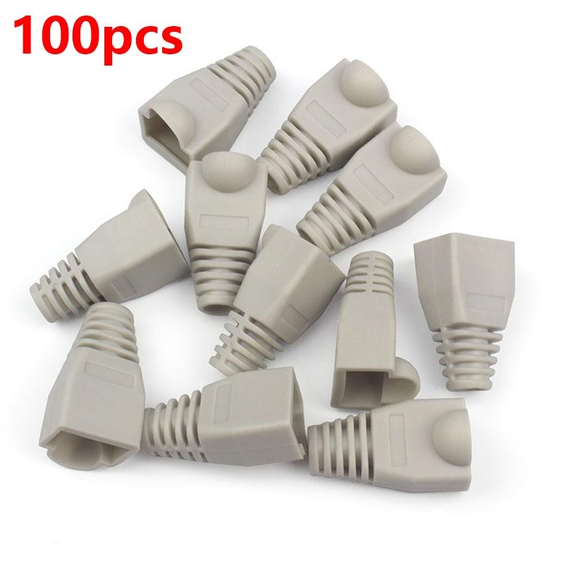 100pcs Cat5 CAT5E RJ45 Caps Connector Plugs RJ45 Ethernet Network Cable Strain Relief Boots RJ45 plugs Socket boot caps HY202 70 140pcs colorful cat5 cat5e rj45 connector caps rj45 modular plugs network ethernet cable plug rj45 connector boots hy1544