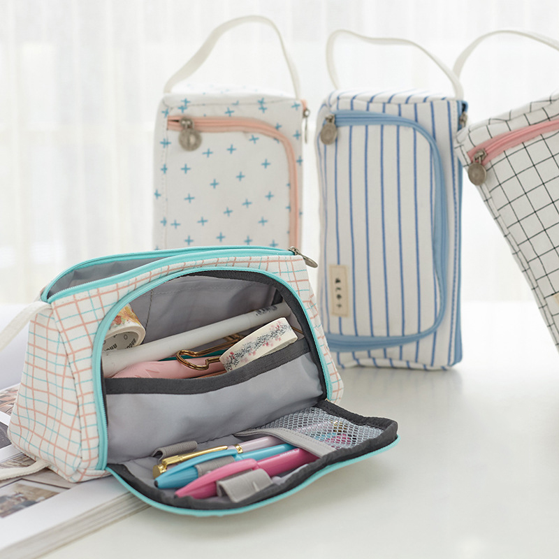 Kawaii Large Capacity pencil case Portable Lovely Linen cloth pencil bag Pencils Pouch School Pen Box Stationery penalty 3035 high quality canvas large capacity solid color school multifunctional boys pencil case pen holder bag stationery penalty 04921