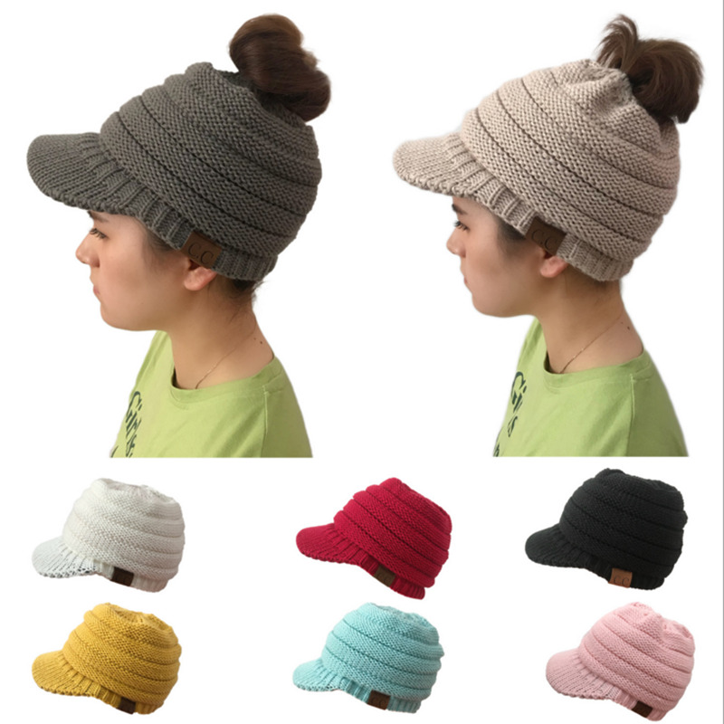 b643c7c0bcb SANDMAN High Quality Cotton Two Style Womens Girl Hair Stretch Knit Hat  Messy Bun Ponytail Beanies ...