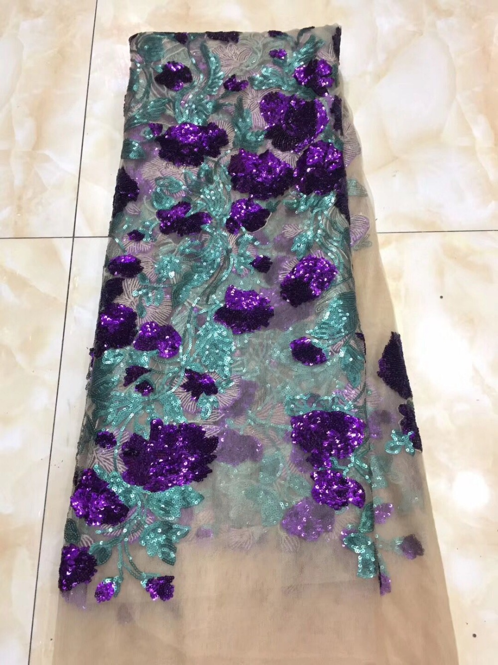 NEW High Quality 2019 Tulle Sequins Beaded French Nigerian Lace Fabrics Pearls Embroidered Guipure African 3d Lace Fabric Gold