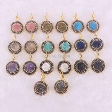 10 Pairs Naturstein Ohrringe für Frauen Titan Geode Baumeln Ohrringe Trendy Runde Earing