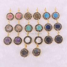 10 pares de pedra natural brincos para mulher titânio geode quartzo balançando brincos na moda redondo earing