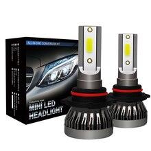 Комплект из 2 предметов, Прямая Автомобильный светодиодный фары лампы 9012 9006 9005 H1 H7 H11 H4 светодиодный фары комплект для переоборудования COB лампа 90 Вт 12000LM белый