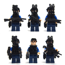 SWAT Military Riot Special Weapons and Tactics Mini Figure Super Hero Kid Baby Toy Blocks Sets Model Minifigures Brick
