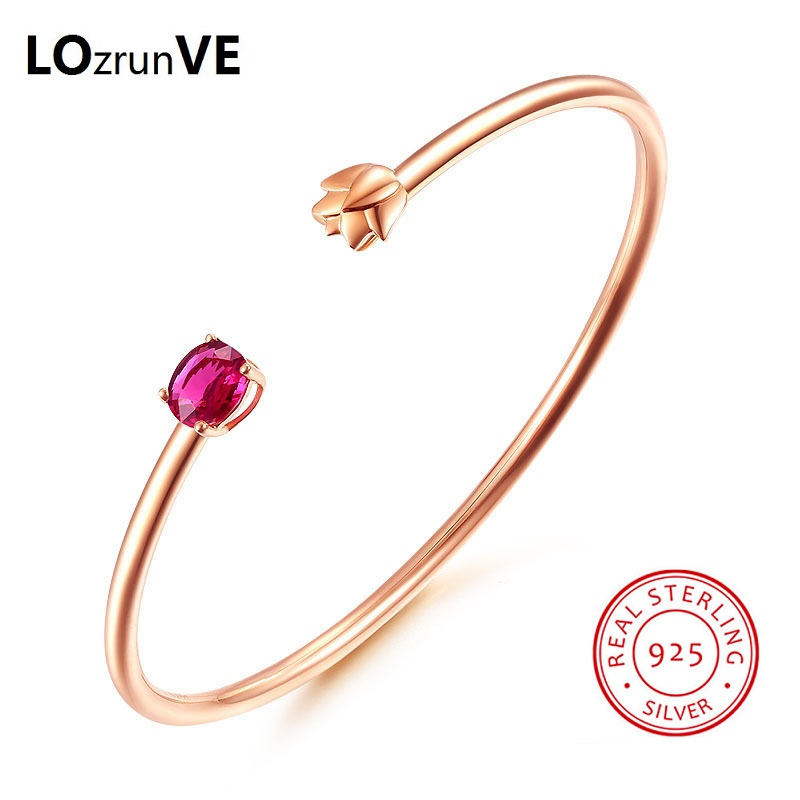 LOZRUNVE Authentic 2018 S925 Sterling Silver Jewelry Flower Red Precious Stone Opening Elegant Rose Gold Bangle Women Wholesale