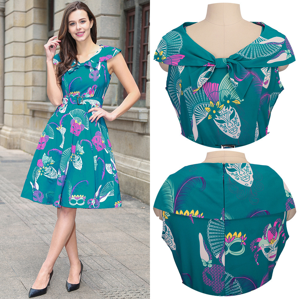 Dress Women Of Large Number Goods In Stock Europe Station New Neck Exquisite Printing Pullover Dress Restore Ways Will Pendulum