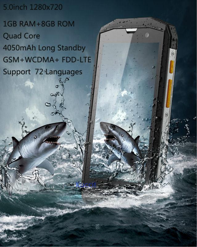Téléphone portable débloqué 5 S Qualcomm Quad Core 5.0 ''IPS Android 4.4 ip67 téléphone résistant aux chocs étanche 1 GB RAM 3G WCDMA CAT M8