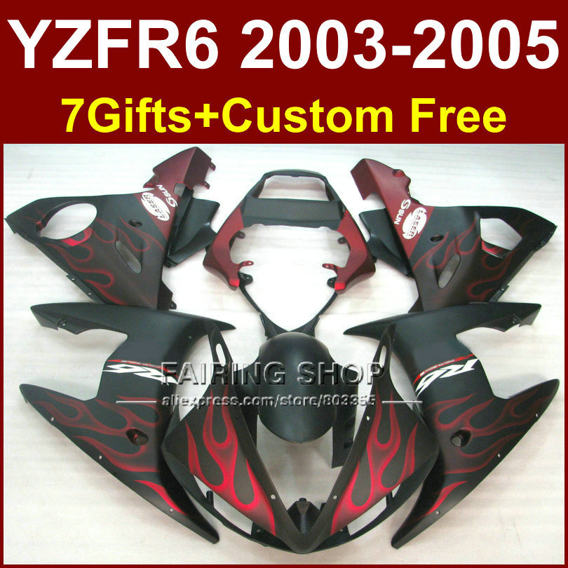 Red flames in black body repair parts for YAMAHA R6 fairing kit 03 04 05 YZF R6 2003 2004 2005 Motorcycle fairings sets OH64 motorcycle front light headlight head lamp for yamaha yzf r6 yzfr6 yzf r6 2003 2004 2005 03 04 05