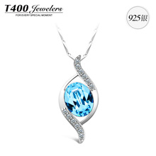 New item,T400 made with swarovski elements crystal,AAA zircon pendant necklace,925 sterling silver,for women#10586,free shipping