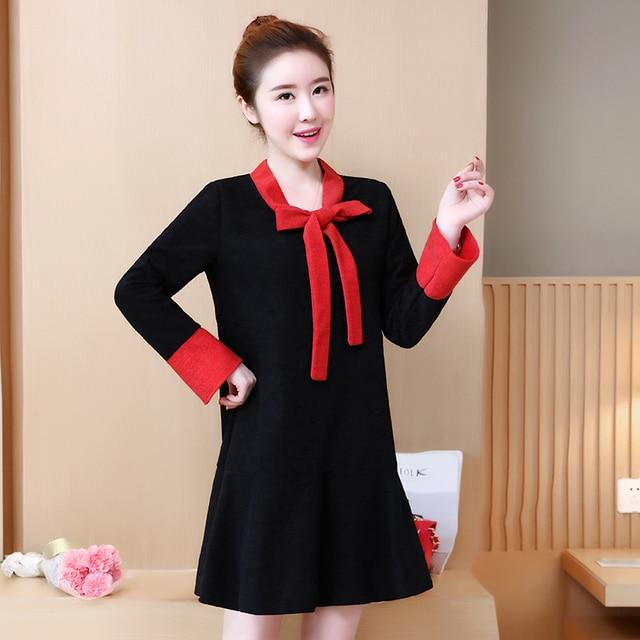 acc48dba60f14 Pengpious autumn and winter new maternity dress long sleeve loose bow  lacing formal dress pregnant women elegant dress L-5XL
