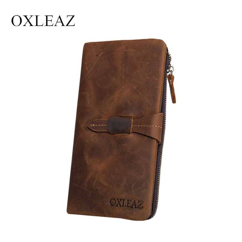 OXLEAZ Crazy Horse Clutch Purse Vintage Designer Men Genuine Cowhide Leather Wallet Male Money Bag Card Holder Long Wallet Thin contact s 2018 men wallet genuine leather men wallet crazy horse cowhide leather short male clutch coin purse card holder wallet