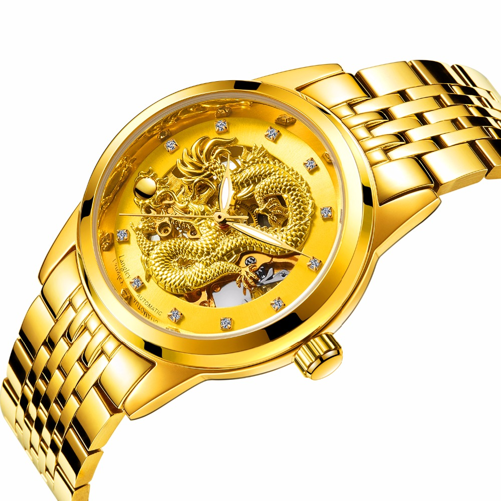 купить Men's Watch Skeleton Waterproof relogio masculino Gold Dragon Automatic Mechanical Wristwatches Stainless Steel Band по цене 1834.85 рублей