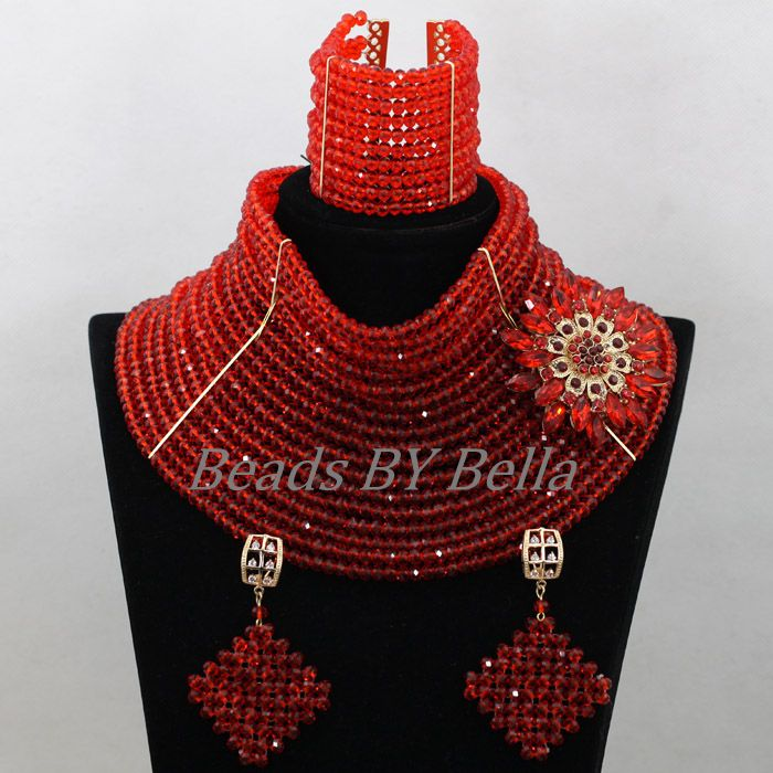 Chunky Nigerian Bridal Jewelry Sets 18 Layers Red African Wedding Beads Crystal Statement Necklace Set Free Shipping ABK313Chunky Nigerian Bridal Jewelry Sets 18 Layers Red African Wedding Beads Crystal Statement Necklace Set Free Shipping ABK313