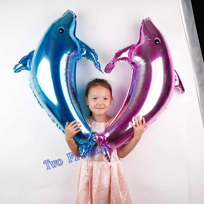 1 UNID grande delfín globos de papel de aluminio para niños juguetes clásicos de la boda fiesta de cumpleaños decoración fiesta de bienvenida al bebé suministros balo