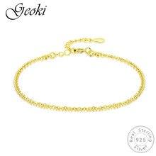 Geoki 925 Sterling Silver Gold-color Rope Shaped Link Chain Bracelet S925 Original Sweet Wedding Bangle Women Luxury Jewelry недорого