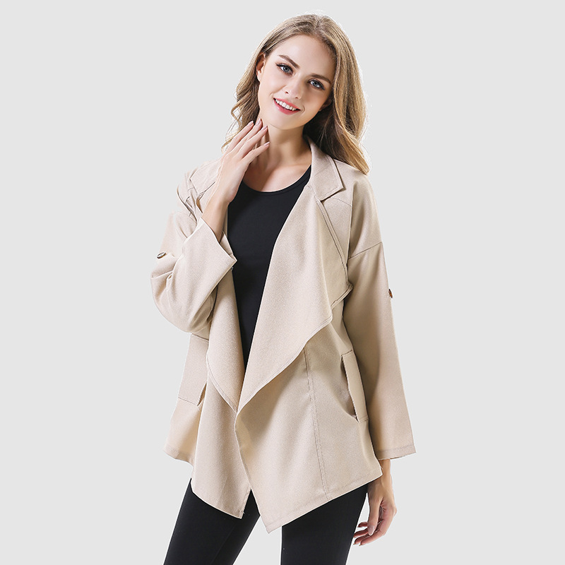 New 2019 spring autumn irregular trench coat women large turn down collar coats