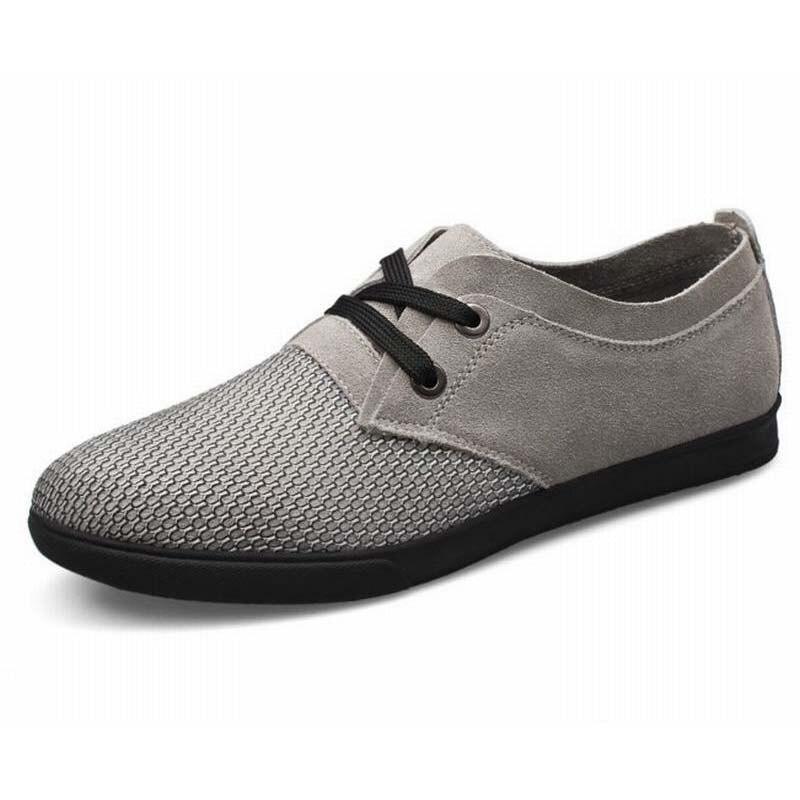 D'été La De Qualité brown Suede Main Gray À black Plat Air Hommes Casual Respirant Mesh Patchwork Chaussures Mode Loisirs Haute 54InqOFxY