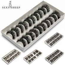 SEXYSHEEP 10 Pairs/lot Natural False Eyelashes Fake Lashes Long Makeup Faux 3D Mink Lashes Eyelash Extension Eyelashes Beauty