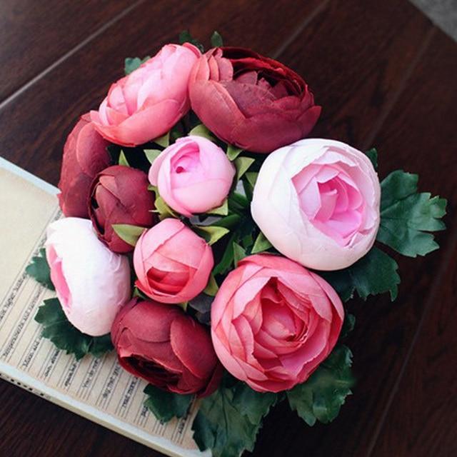 Romantic Bouquet Artificial Rose Flowers Silk Flowers Bridal Hand ...