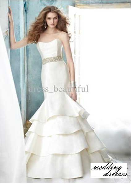 BRIDAL GOWNS WEDDING DRESSES 2012 Mermaid Curved neckline Beaded Embroidery Bridal Dresses