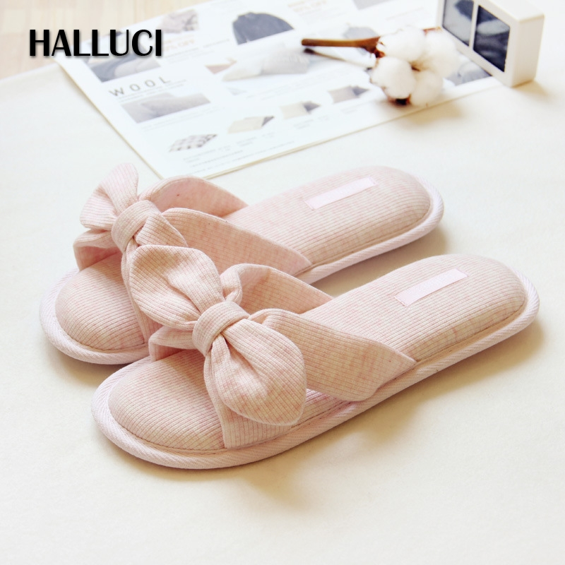 HALLUCI bowknot home slippers shoes woman sandals lovely cotton zapatos mujer peep toe slipper women flip flops indoor shoes halluci breathable sweet cotton candy color home slippers women shoes princess pink slides flip flops mules bedroom slippers