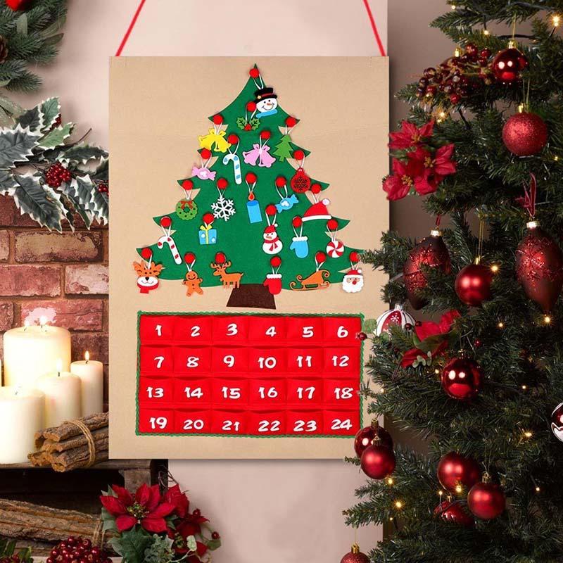 Felt Christmas Tree Advent Calendar: Christmas Tree Advent Calendar Panels Kit Felt Fabric