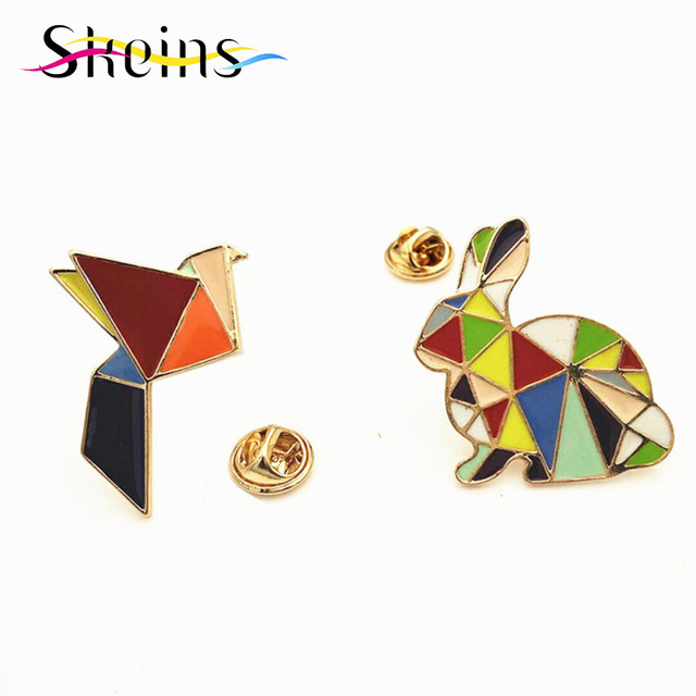 Skeins Jewelry Christmas Brooch British Designer Enamel Collar  Pin Brooch Drop of Oil Rainbow Geometric Rabbit Crane Brooch