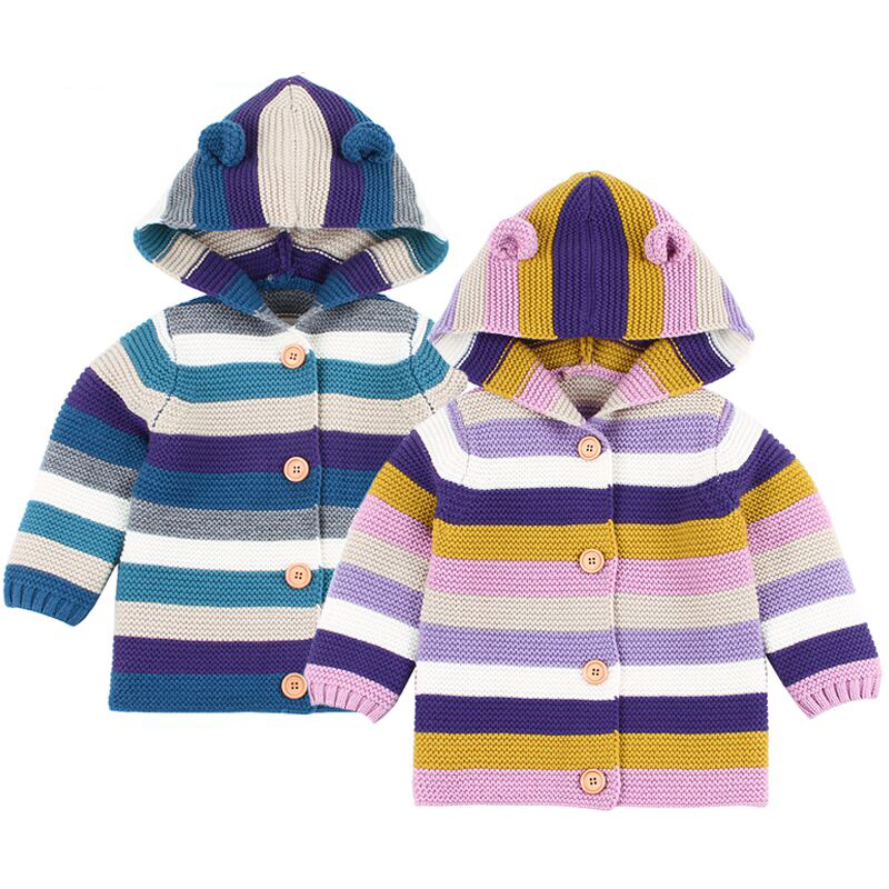 New Stripe Sweaters Baby Girls Cardigans Autumn Hooded Newborn Boys Knitted Jackets Cartoon Bear Children's Long Sleeve Clothing