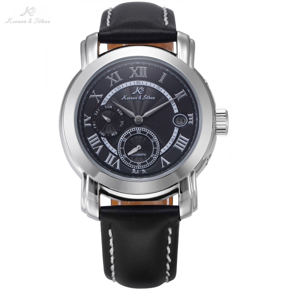 Classic KS Automatic Black Dial Date Day Mechanical Watches Roman Mens Dress Business Leather Strap Timepiece Wristwatch / KS277 ks luxury automatic self wind date day 24 hours black 3 dial steel strap mechanical wrist watches mens gents timepieces ks307