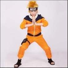 Аниме Cos NARUTO Uzumaki Naruto, карнавальный костюм для мальчиков и девочек, костюмы для шоу, японские костюмы с героями мультфильмов, топ+ штаны