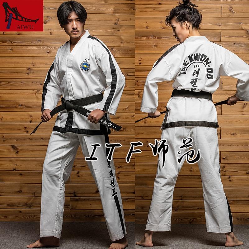 ITF Master Taekwondo clothing high-end full cardigan adult long sleeved Tae kwon do clothes full-placket design, black trim martial arts tkd tae kwon do korea v neck adult taekwondo master uniform for poomsae