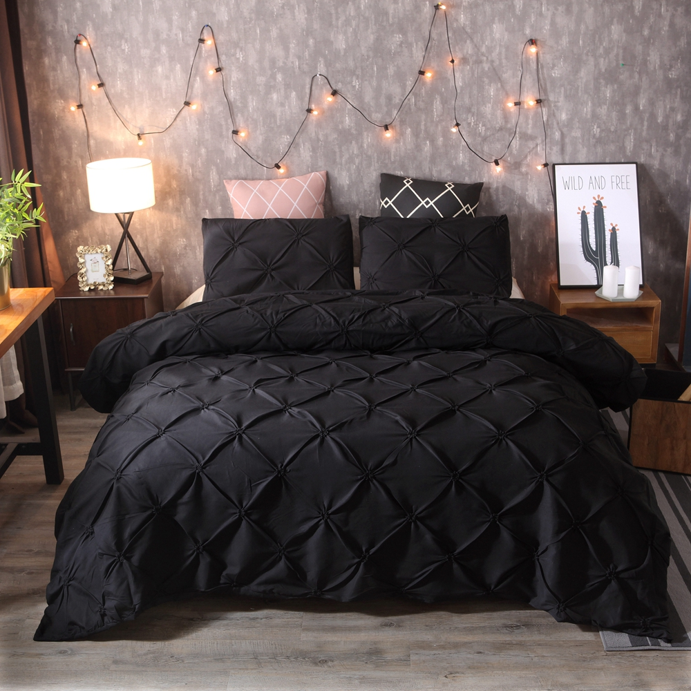 2 3pcs luxury black comforter cover set pinch pleat brief bedding set queen king size bed linen set duvet cover with pillowcase