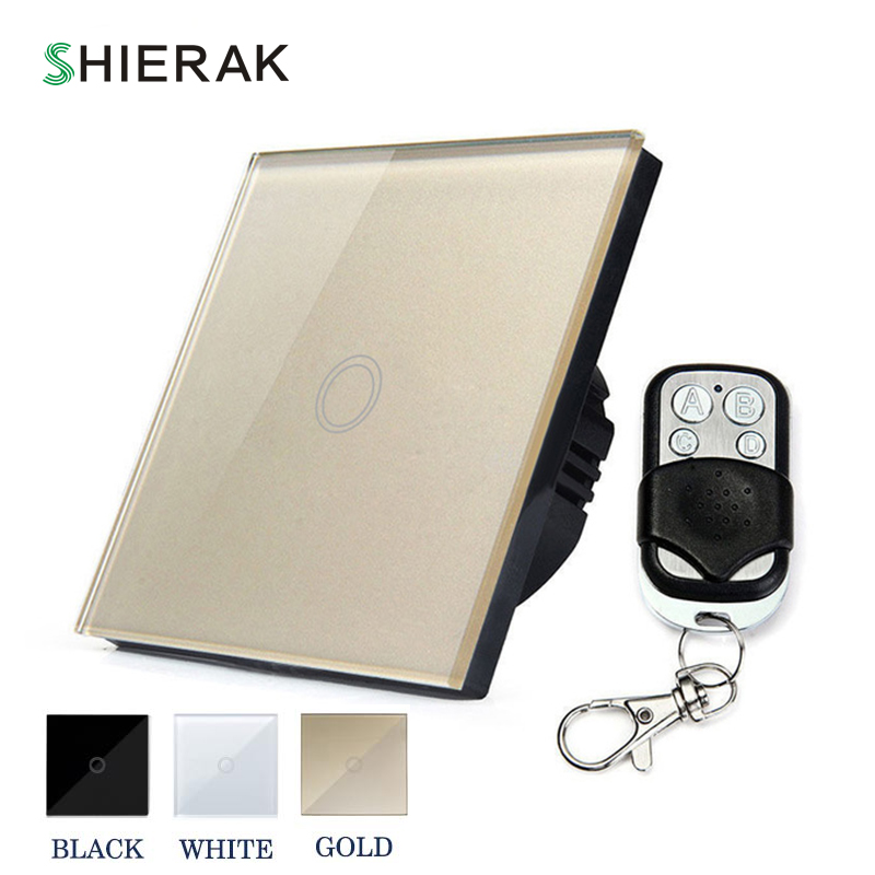 SHIERAK Wireless Switch Remote Control Touch Switch 1 Gang White/Black/Gold EU Standard Crystal Glass Panel Touch Control Switch футболка мужская abercrombie