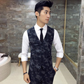 2017 autumn new men's vest dress Camouflage geometric patterns Slim waistcoat Business gentleman high-quality men clothing MJ61