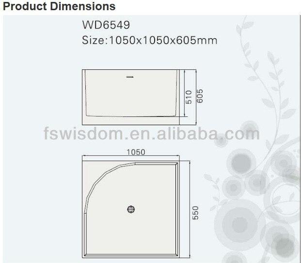 Cupc aprovado MARCELLA superfície sólida banheira de pedra ARTIFICIAL banheira de pedra 1050 x 1050 x 605 MM WD022-1